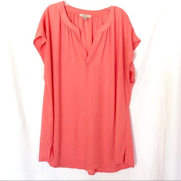 39ac99ce90f Roz   Ali Tops - Roz   Ali Melon Sheer Short Sleeve Blouse Women 2X